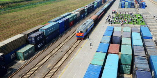 First Qingdao-Central Asia Freight Train In Qingdao, China
